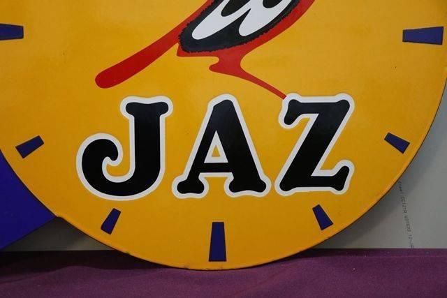 Jaz Clock Double Side Enamel Advertising Sign