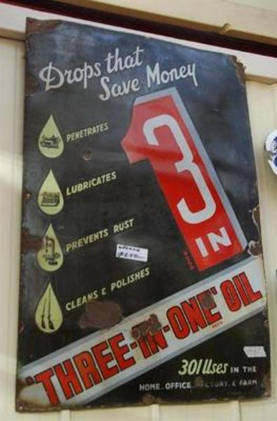 Antique Enamel Sign featuring Three-In-One Oil Drops that Save Money --SA35