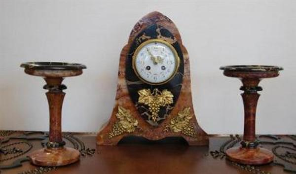 Art Deco 3 Piece Clock Set  --- C 40