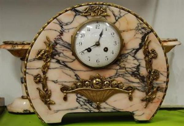 Art Deco French Marble  3 Piece Clock Set. C1920 --- C28