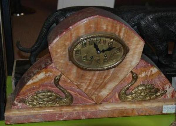 Art Deco Marble Clock With Gilt Bronze Mounts..---C 26
