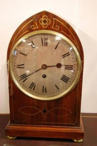 19th Century Time Only Fusee ??? Clock. Brass Inlayed Case Silvered Dial ---C16