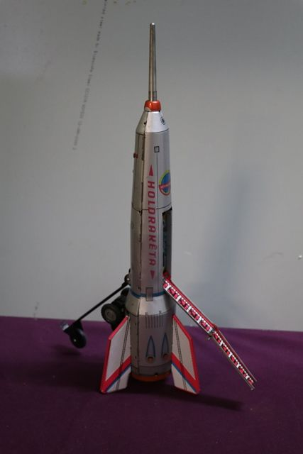 1960 Hungarian Holdraketa Friction Tin Rocket Toy