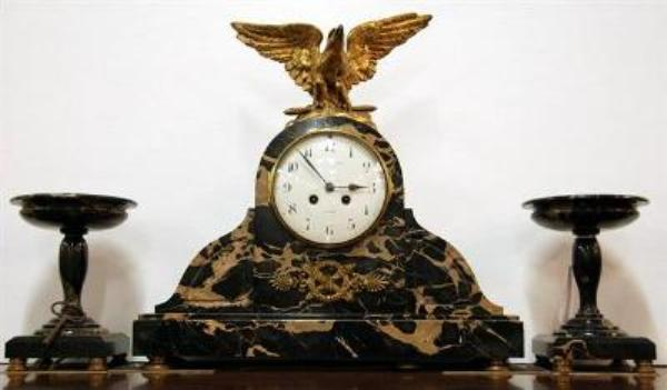 Exceptional French 3 Piece Marble Clock Set. By M.L. Grossin of le Havre C1870 ---C4