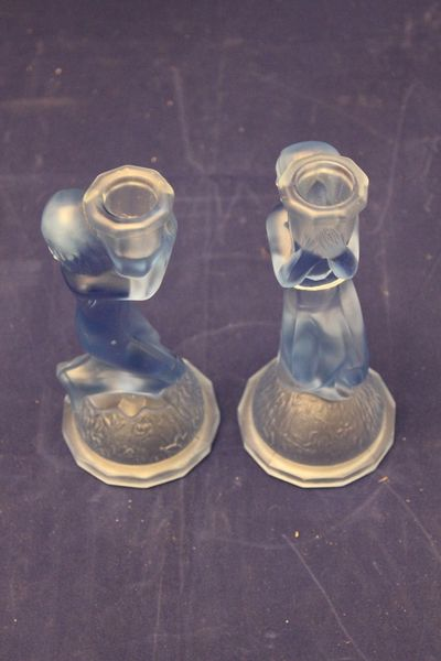 Pair Art Deco Blue Glass Female Nude Candle Stick Holders