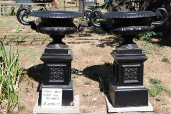 Pair Cast Iron Urn on Stand --- GF6