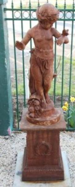Cast Iron Cherub with Butterfly on Stand --- CI 31