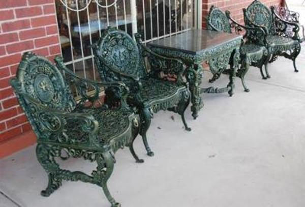 5 Piece Cast Iron Table and Chairs --- CI 1