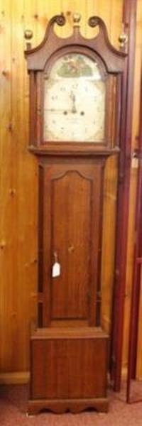Oak with Mahogany Crossbanding Longcase 8 Day Clock   ANT 78