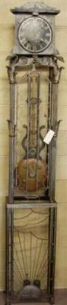 French Iron Cased Comptoise Clock  7`9 Tall  C1900   ANT 59