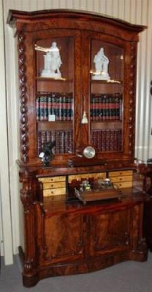 English Flame Mahogany 2 door Secretaire bookcase  C1850 ---ANT 19