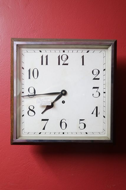 14andquot Square Dial Wall Clock With Chrome Bezel + Oak Surround C1930