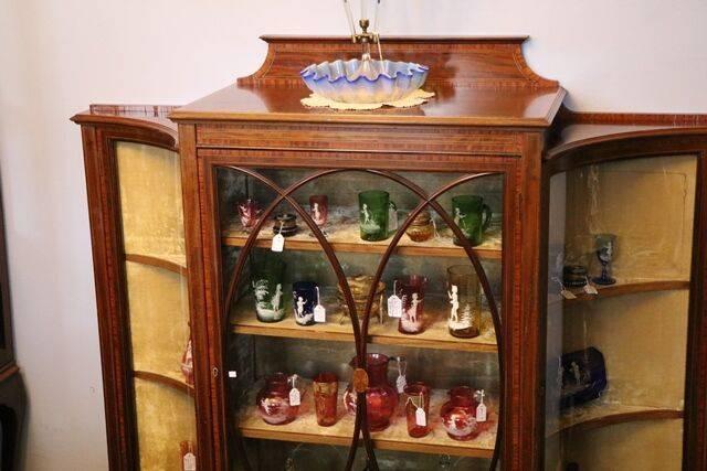 Antique Mahogany Inlaid 3 Door Parlor Cabinet