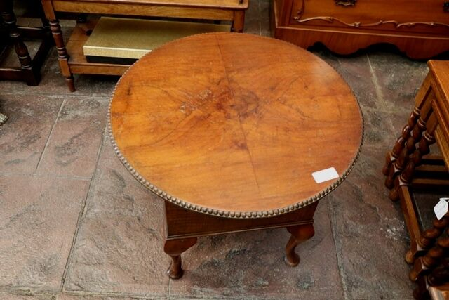 Early C20th Walnut Round Top Sewing Table