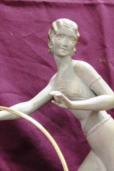 1930and39s Art Deco Spelter On Marble Hoop Girl And Greyhound Figure Lamp C192535