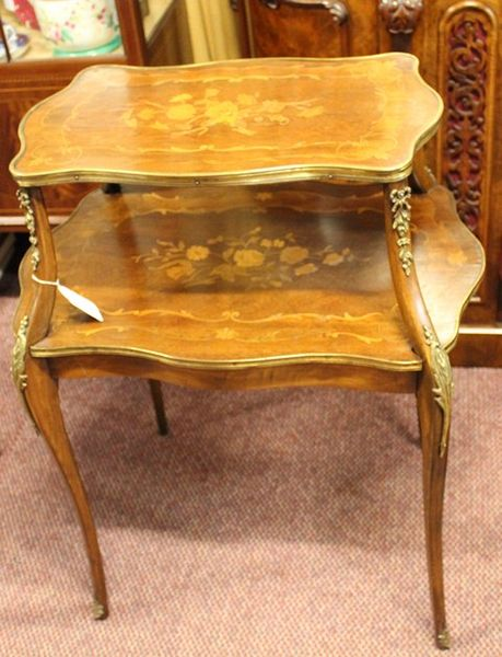 19th Century French Walnut and Marquetry Etagere