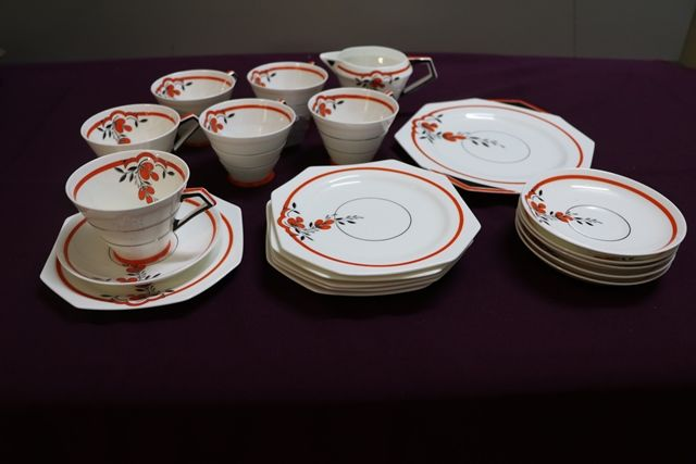 20 Piece Art Deco Hand Painted China Tea Set By Paragon English C1925
