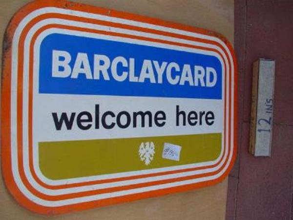 BARCLAYS WELCOME DOUBLE ENAMEL SIGN ---SM112