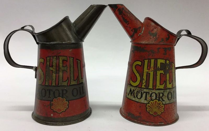 2 Early Shell Quart Motor Oil Pouring Jugs