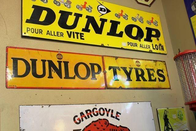 2 Piece Dunlop Tyres Enamel Sign