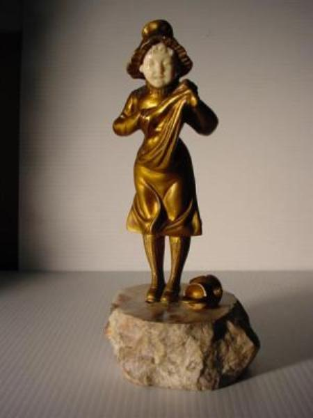 BRONZE AND IVORY CHILD FIGURE ---AD60