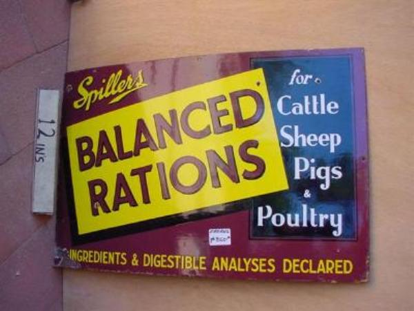 SPILLERS BALANCED RATIONS ENAMEL SIGN ---SM80