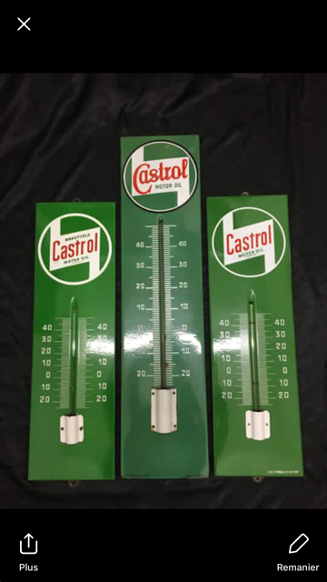 3 Genuine Castrol Enamel Thermometers