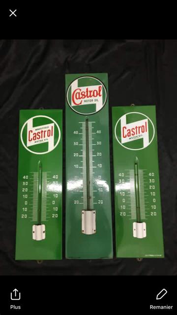 3 Genuine Castrol Enamel Thermometers
