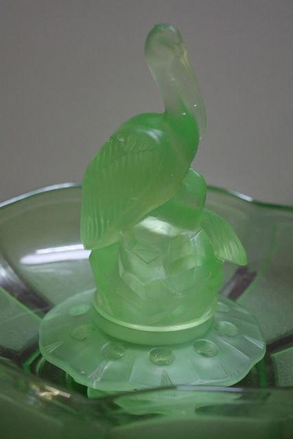 3 Pieces Art Deco Green Uranium Glass Pelican Float Bow