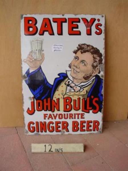 BATEYs JOHN BULL GINGER BEER ENAMEL SIGN ---SG90