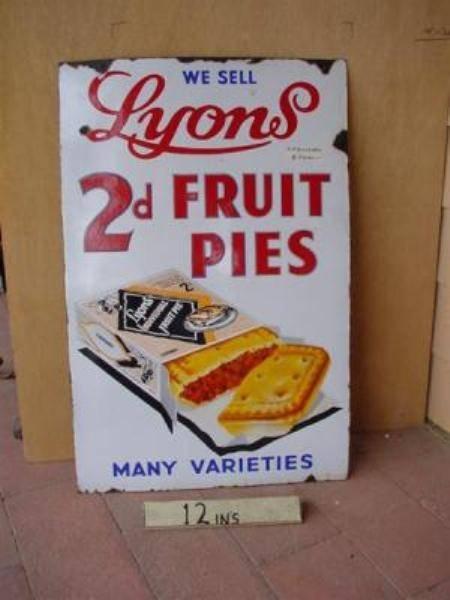 "LYONS 2d FRUIT PIES ENAMEL SIGN ---22""x34""  ---SG85"