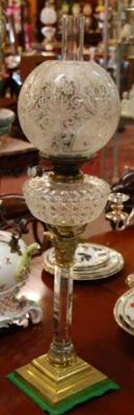 19th Century Cut Glass Oil Lamp and Shade LM 5
