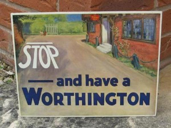 Worthington Beer Pub card sign---SP19