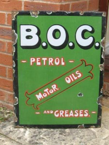 B.O.C. Oetrol and Motor Oils enamel sign---SA87