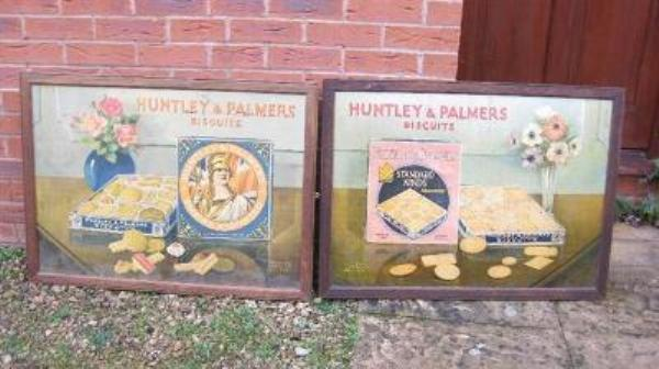 Pair of large Huntley and Palmers Biscuits showcards---SG31