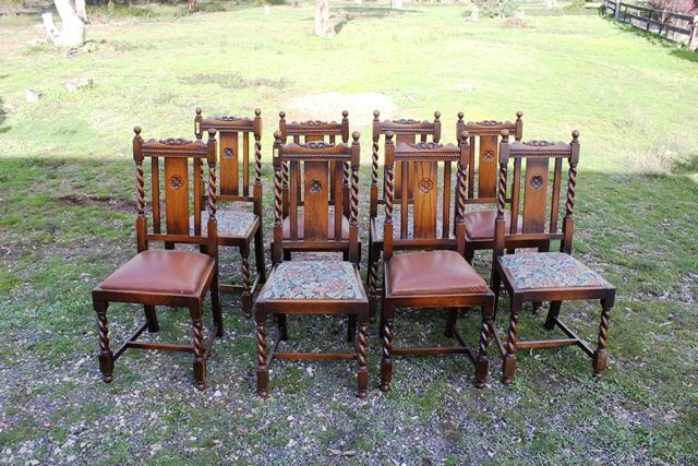 Wondrous 8 Edwardian Oak Barley Twist Dining Chairs Xxxx Antique Pabps2019 Chair Design Images Pabps2019Com