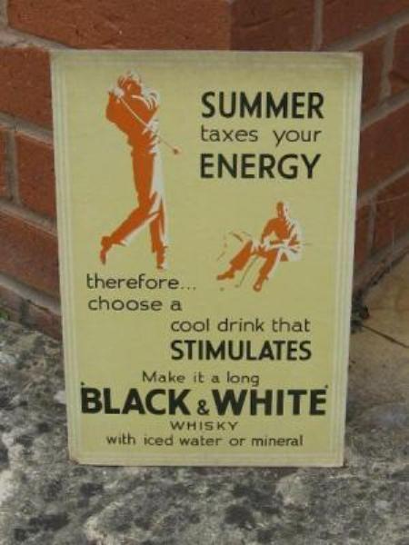 Black and White Whisky Golfing card Sign---SP8