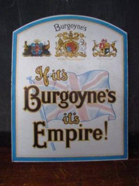 Burgoyne s Wines card showcard sign---SP7