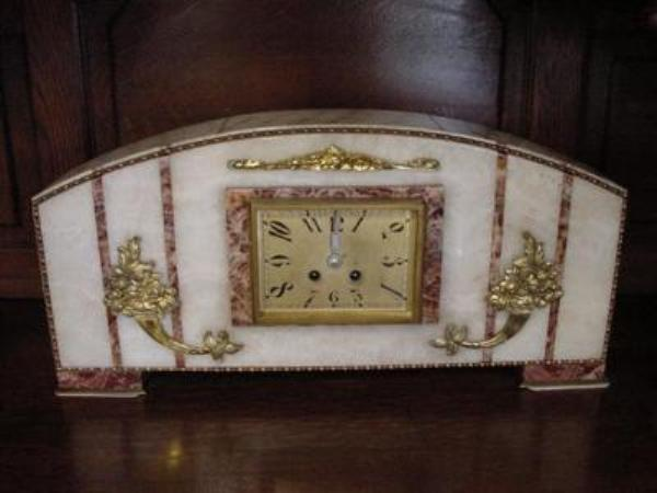 3 PIECE ART DECO MARBLE CLOCK SET   C75