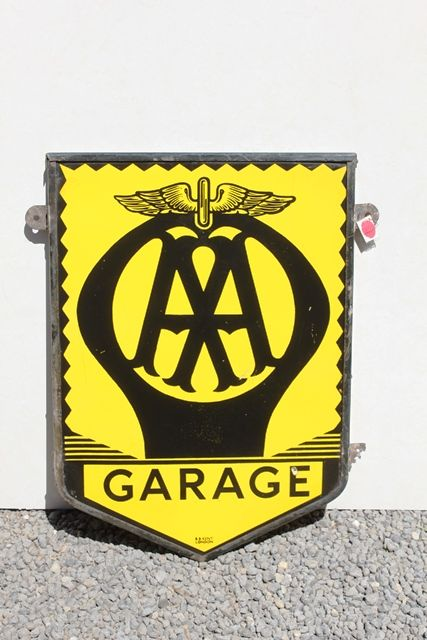 AA Garage Framed Enamel Advertising Sign