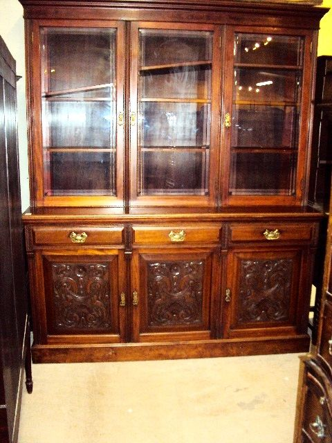 ARRIVING MAY ANTIQUE 3 DOOR BOOKCASE