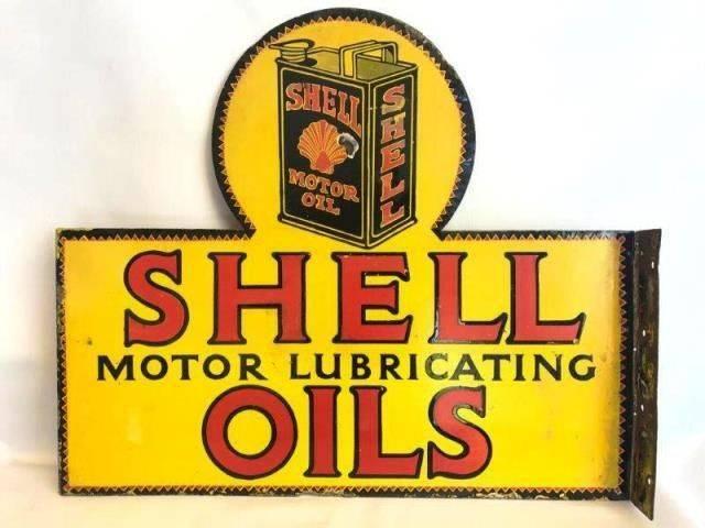 ARRIVING NOVEMBER Double Shell Oils PostMount Enamel Advertising Sign