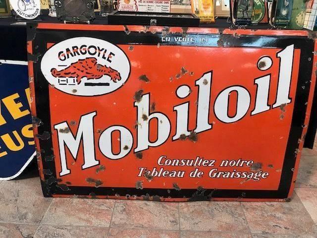 ARRIVING NOVEMBER Gargoyle Mobiloil Enamel Advertising Sign