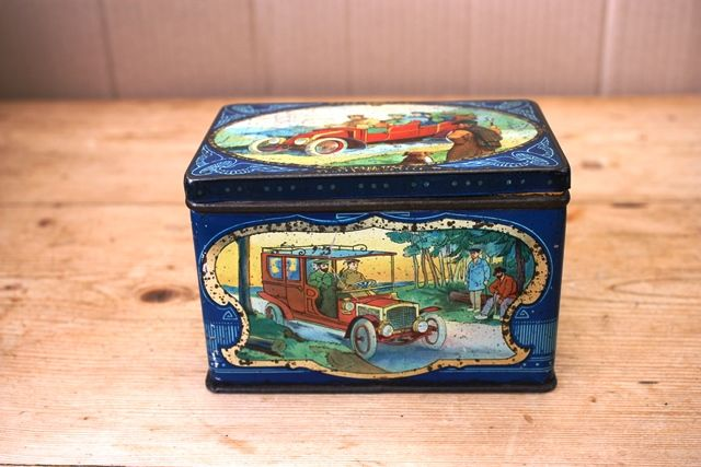 ARRIVING NOV Antique Pictorial Motoring Tin