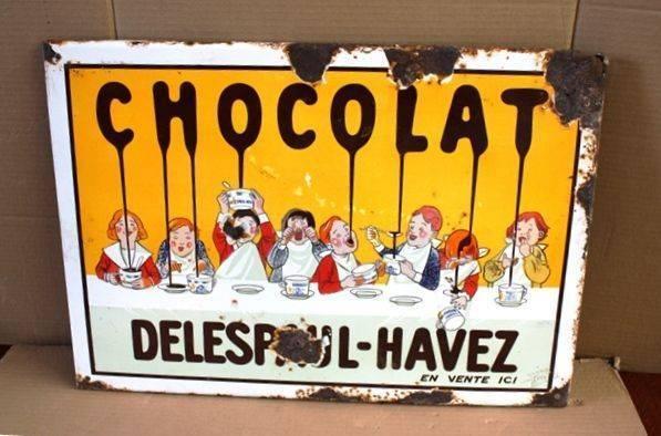 ARRIVING SOON Antique Chocolat  Pictorial Enamel Sign