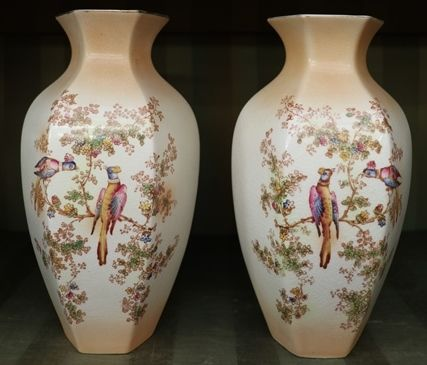 A Finely Decorated Pair Of Crown Ducal Vases C1915 Xxxx Antique