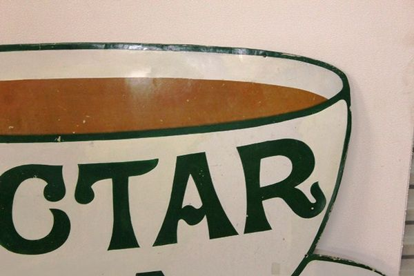 A Large + Early Nectar Tea Enamel Sign