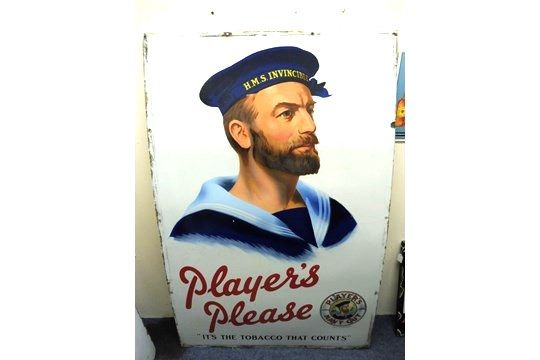 A Large Playerand39s Please pictorial and39Heroand39 sailor enamel sign