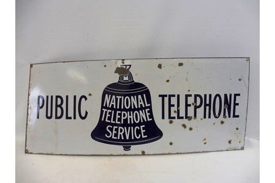 A National Telephone Service and39Public Telephoneand39  enamel sign