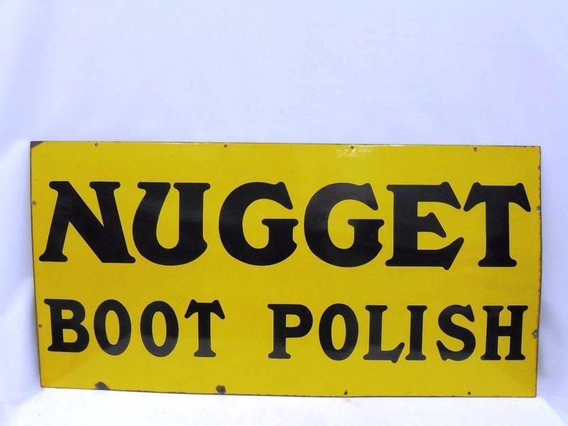 A Nugget Boot Polish Enamel Advertising Sign